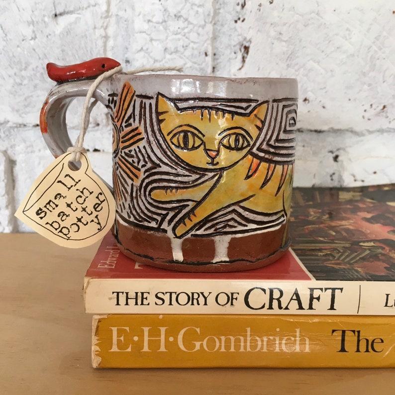 Carved Terra Cotta Kitty Cat Mug