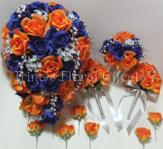 Cascading Bridal Wedding Bouquet Set Blue Orange And Silver Etsy
