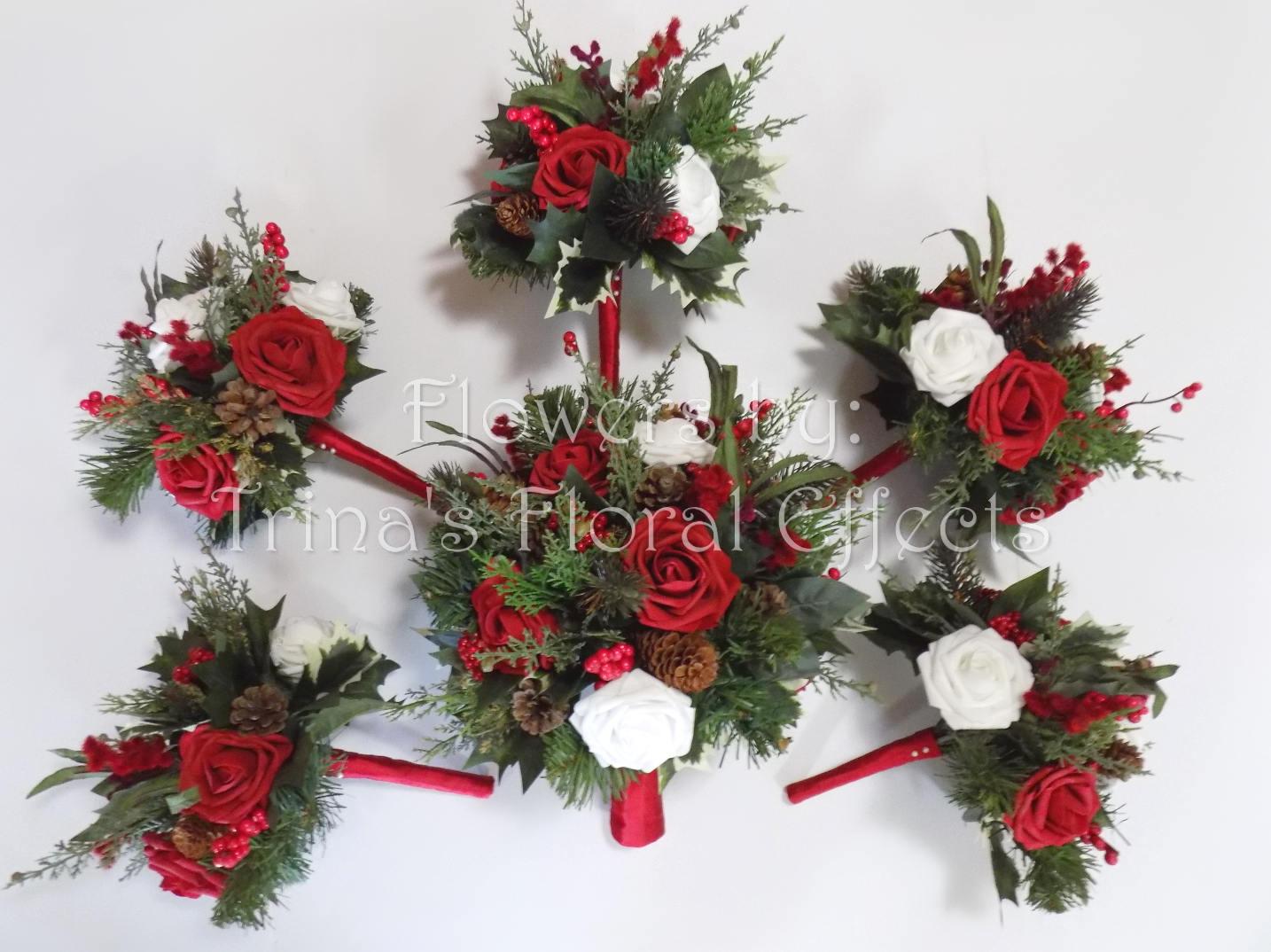 A Wedding For Christmas 2021 Christmas Wedding Bouquet Woodland Winter Wedding Christmas Etsy