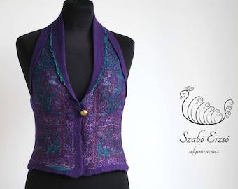 Purple nuno felted vest