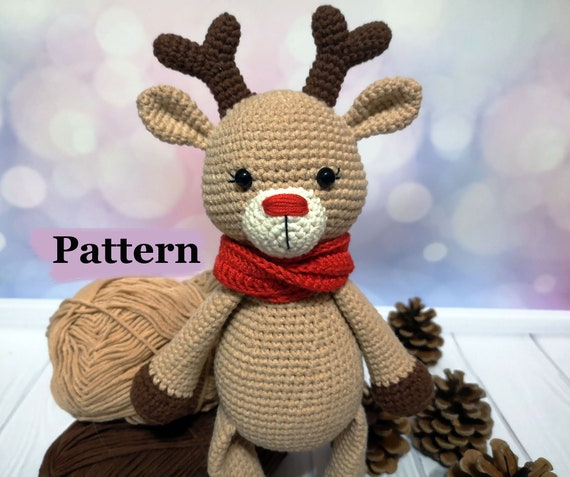 Crochet Baby Reindeer Pattern, Amigurumi doll, DIY, Christmas toy decoration, PDF-Instant download