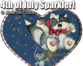 Cat and Mouse 4th of July Painting Pattern by Download, 4th of July Sparkler, Sharon Chinn, Sweet Patoodies, SC-HH124