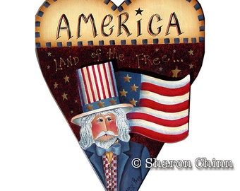 Uncle Sam on Prim Heart Painting Pattern by Download, Americana Heart, Sharon Chinn, Sweet Patoodies, SC00105