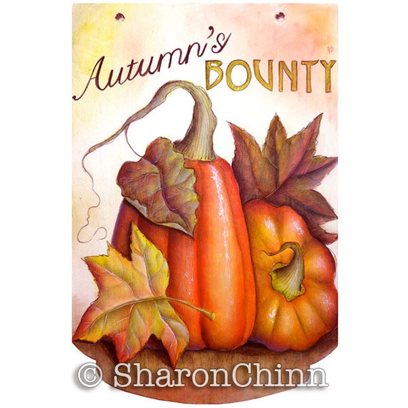 Sharon Chinn Pumpkin SC00275 Autumns Bounty Autumn Leaves Still Life Painting Pattern by Download Sweet Patoodies
