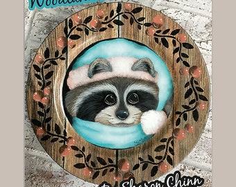 Raccoon Twigs and Berries  Painting Pattern by Download, Woodland Winter Raccoon, Sharon Chinn, Sweet Patoodies, SC18008