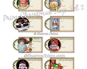 CHRISTMAS GIFT TAGS Set 02 - 8 Tags to Print on Your Own Cardstock - Snowman, Cats, Santa, Mouse