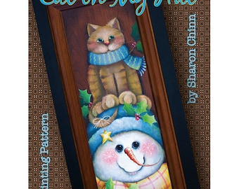 Snowman and tiger cat Painting Pattern by Download, Cat on My Hat, Sharon Chinn, Sweet Patoodies, SC00261