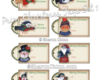 CHRISTMAS GIFT TAGS Set 01 - 8 Tags to Print on Your Own Cardstock - Snowman, Gingerbread, Santa