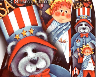 Uncle Sam Bear and Miss Liberty on Ironing Board Painting Pattern by Download, God Bless the USA, Sharon Chinn, Sweet Patoodies, SC00230