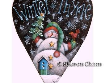 Snowman Tole Painting ePattern birdhouse red birds Christmas tree Winter Thyme Snowman Heart Sharon Chinn Sweet Patoodies, SC00134