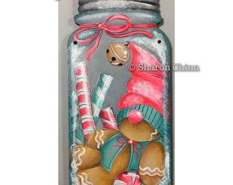 Ginger Gnome Painting Pattern by Download, Mason Jar Cutout, Sharon Chinn, Sweet Patoodies, SC19010