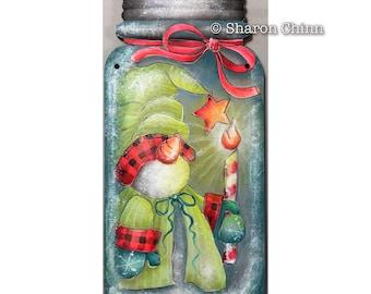 Sno-Gnome Glow Painting Pattern by Download, Mason Jar Cutout, Snowman, Sharon Chinn, Sweet Patoodies, SC19011