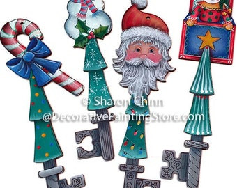 Christmas Joys Key Ornaments (Candy Cane, Snowman, Santa, Jack in the Box)  Painting Pattern by Download