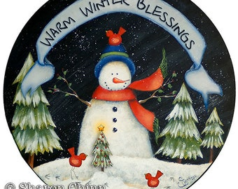 Snowman Tole Painting ePattern red birds Christmas tree Warm Winter Blessings Sharon Chinn Sweet Patoodies SC00269