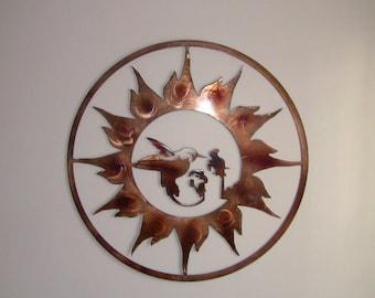Humming Bird Sun Burst Wall Art - Custom Copper finish