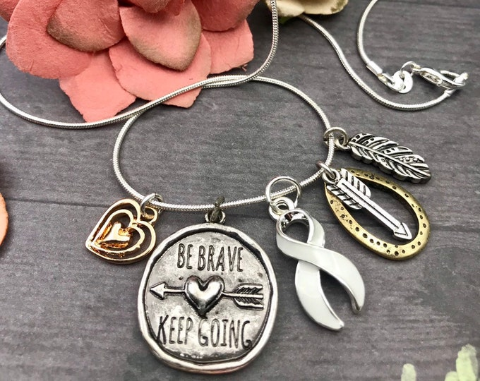 Featured listing image: Pick Ribbon / Be Brave Keep Going Necklace / Cancer Warrior, Chronic Illness, Invisible Illness, Rare Disease, Cancer Survivor Spoonie Gift