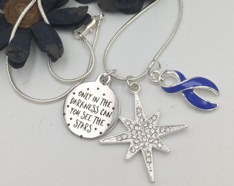 Only in Darkness see Stars Periwinkle Ribbon Bracelet Necklace / Stomach Gastric Esophageal Cancer Survivor / IBS Anorexia Bulimia Awareness