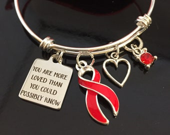 Red Ribbon Bracelet - Aids HIV, Aplastic Anemia, Dysautonomia, Heart Disease, Substance Abuse Awareness. Heart Surgery - You are More Loved