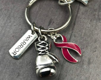 Burgundy / Dark Red / Maroon Ribbon Boxing Glove Keychain -Migraine, Multiple Myeloma, Post-Polio Syndrome, Thrombophilia, Williams Syndrome