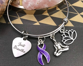 Pick Your Ribbon - Just Breathe, Yogi, Lotus Bracelet - Cancer Awareness / Chronic Illness / Spoonie