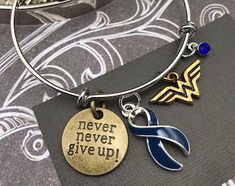 Pick ANY Ribbon Color - Never Never Give Up / Hero / Charm Bracelet