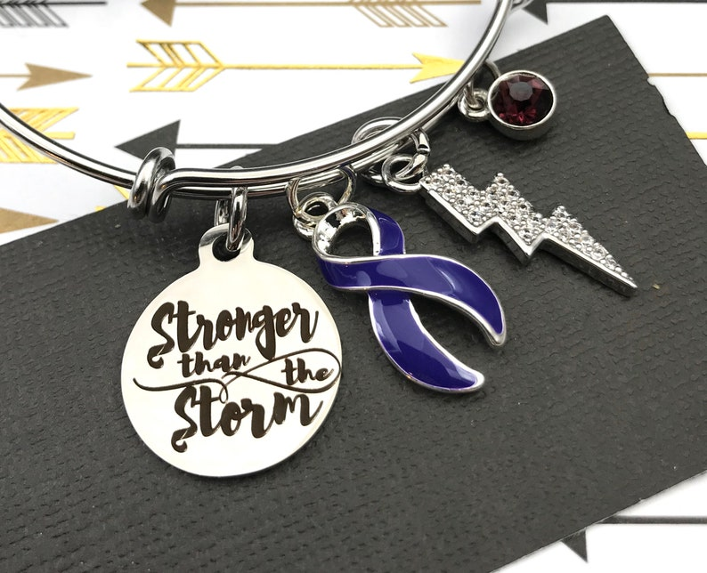 Violet Purple Ribbon Charm Bracelet  Stronger Storm  Hodgkin/'s Lymphoma Survivor Awareness Bracelet  Cancer Survivor