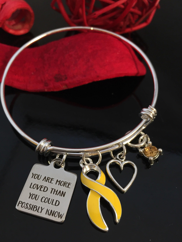Gold Ribbon Charm Bracelet Childhood Cancer Awareness Survivor