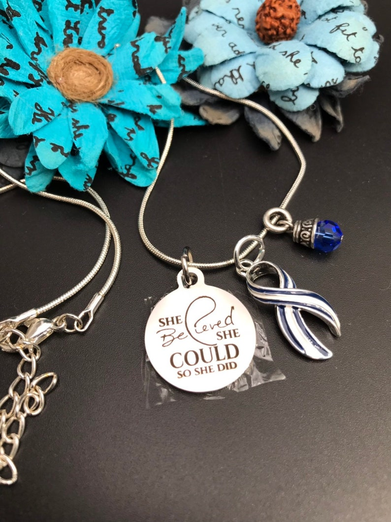 ALS Awareness Necklace - Lou Gehrig's disease / Pin Striped Ribbon Charm -  She Believed She Could So She Did