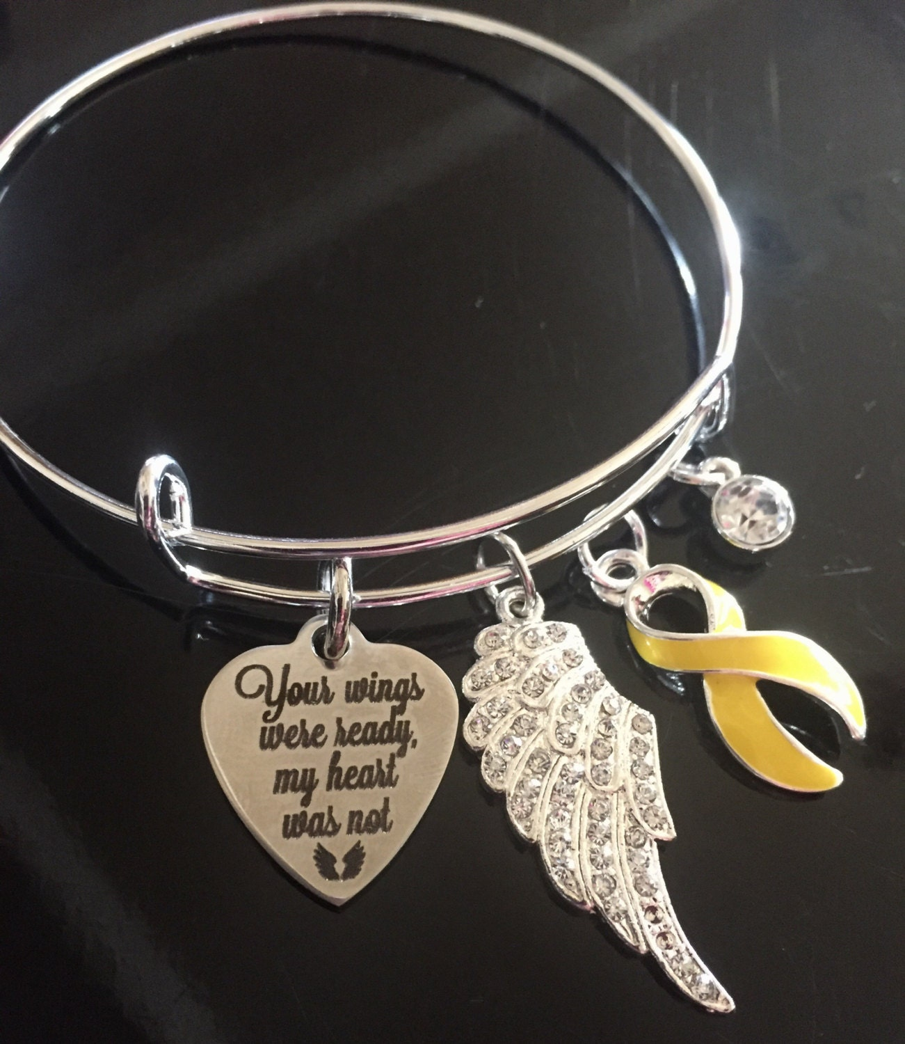 spina adenosarcoma yellow bladder survivor pin cancer ribbon charm bifida fu bracelet liver