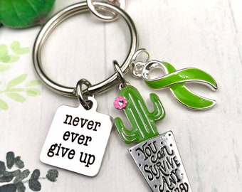 Pick Your Ribbon - You Can Survive Anything / Cactus Succulent Keychain - Personalize Your Ecouragement Charm