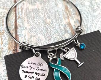 Pick ANY RIBBON Color - When Life Gives Lemons Charm Bracelet / Cancer Survivor Awareness Gift, Chronic Illness, Spoonie / Surgery Gift