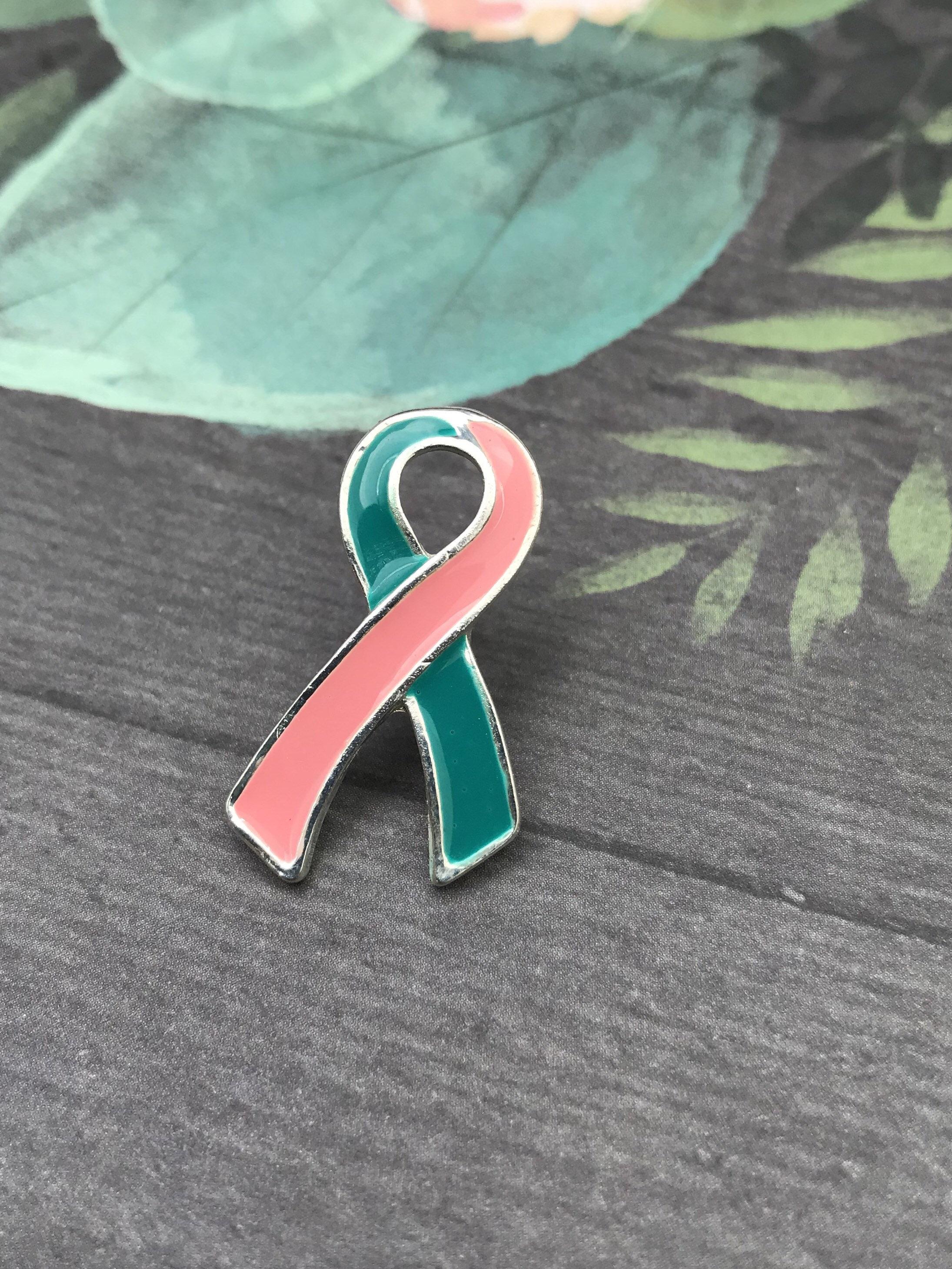 BRCA2  Previvor Cancer Survivor  Awareness BRCA1 Wedding Accessory Pink and Teal Ribbon  Lapel Hat Pin  BRCA