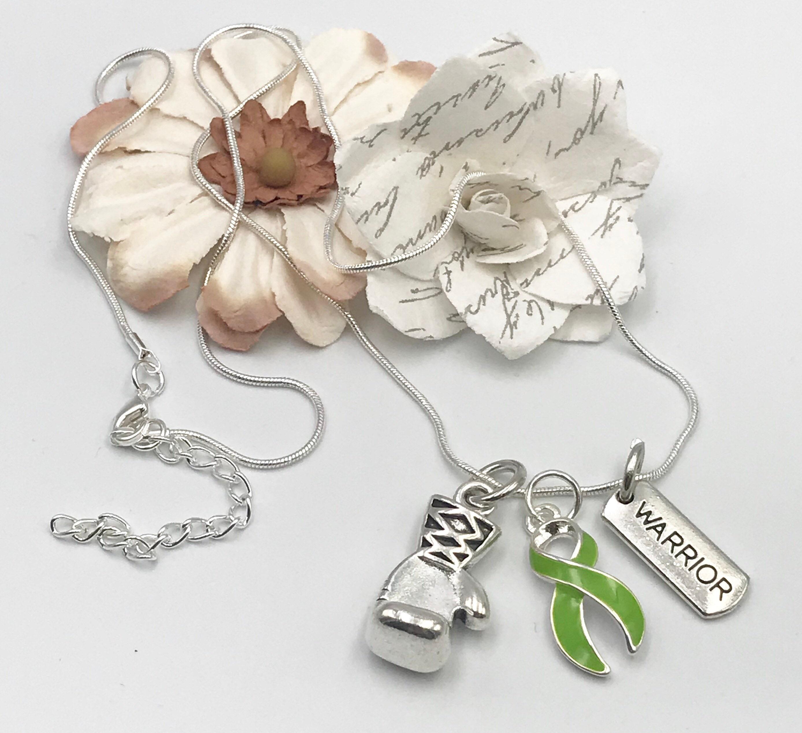 Custom Lymphoma Awareness Hodgkins Ribbon Silver Necklace Jewelry Choose Initial