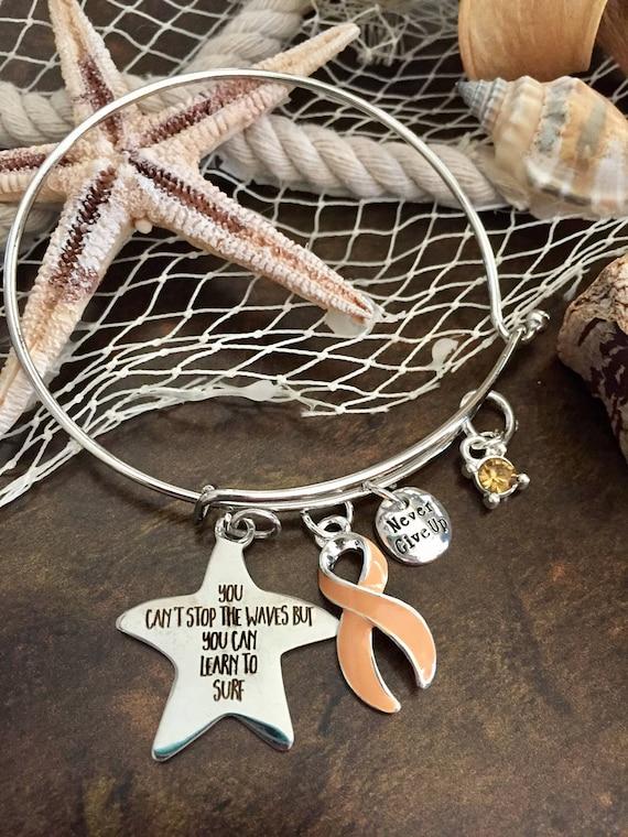 Pêche ruban Bracelet à breloques - survivant du Cancer de l'endomètre,  leucorrhées / bijoux de prise de conscience - vous ne pouvez pas arrêter ...