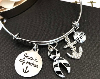 Pick ANY Ribbon Color - Jesus is My Anchor Charm Bracelet