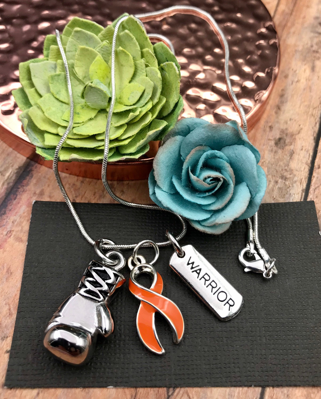 Orange Ribbon Boxing Glove Necklace Leukemia Kidney Cancer Survivor Multiple Sclerosis Prader Willi Ms Awareness Gift Fight Like A