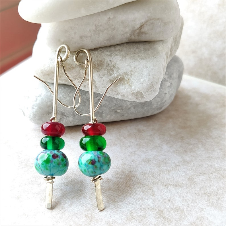 from Israel handmade lampwork glass beads sterling silver Green and silver long drop earrings
