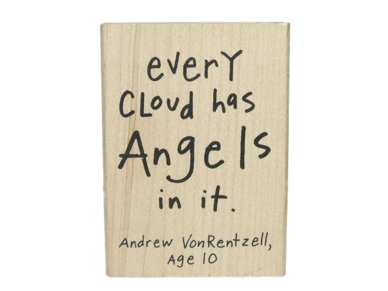 c347c00a97958 Kate Harper Every Cloud Has Angels in It Inspirational Rubber Stamp