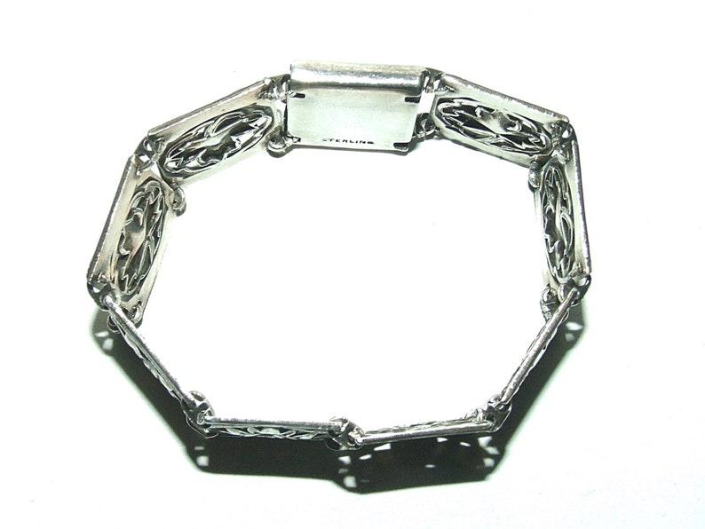Vintage Mid Century Sterling Maple Leaf Panel Bracelet 6 12