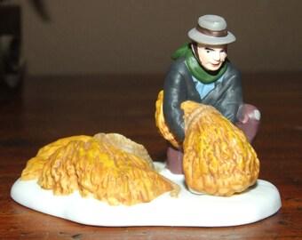 Village Man with Hay Dept 56 Christmas Snow Village Dollhouse Miniature Figurine