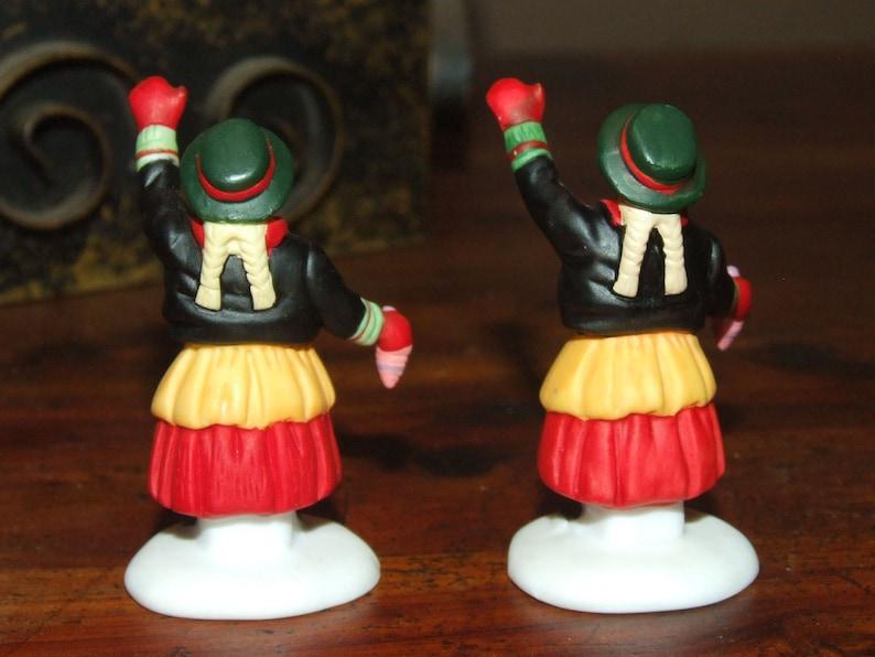 2 Village Woman Dept 56 Christmas Snow Village Dollhouse Miniature Figurine Set of Two