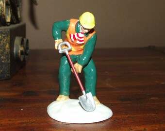 Construction Worker Holding Shovel Dept 56 Christmas Snow Village Dollhouse Miniature Figurine