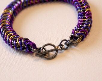 Purple Box Chain Bracelet