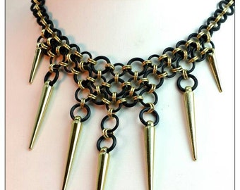 Black and Gold Spiked Chain Maille Bib Necklace