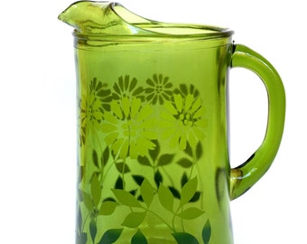 Mid Century Green Glass Vase with Ombre Effect Flower Power Design