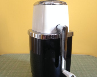 Vintage 1950s Chrome, Black and White Swing A Way Away Manual Ice Crusher