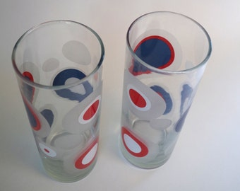 Pair of Vintage Mod Red White and Blue Polka Dot Glass Tumblers