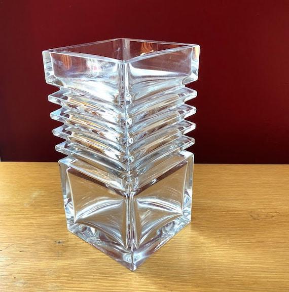 Riihimen Lasi Heavy Glass Vase Finland Mid Century Etsy