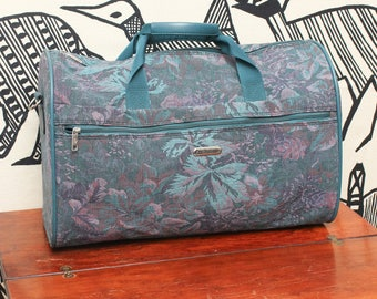 90s Floral Tapestry Duffle Bag // Blue Green Purple Weekender Travel Simple Luggage Carry On