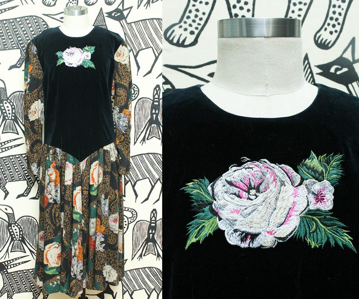Velvet Floral Boho Maxi Dress 80s Donna Morgan Embroidered Bohemian Dress Puffy Sleeve Gypsy Size Small Medium